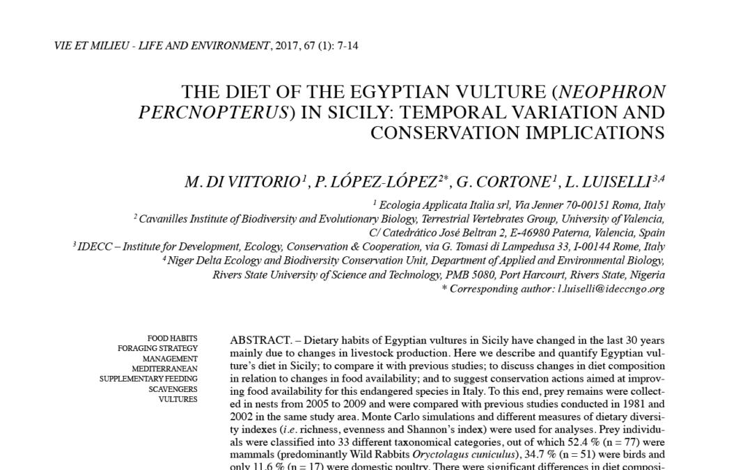 Novità sulla dieta del Capovaccaio in Sicilia
