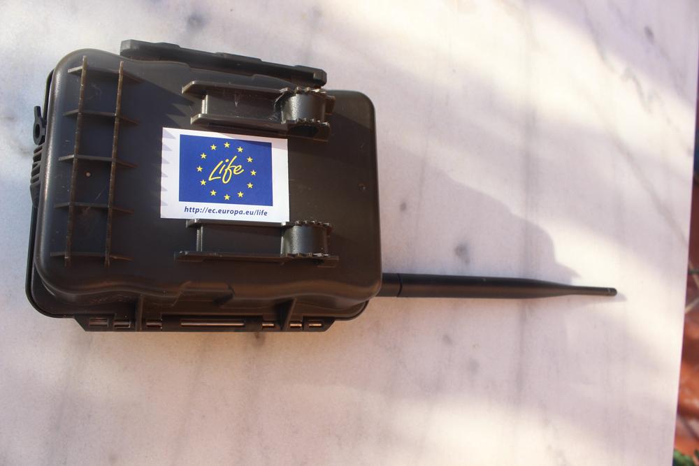 La fototrappola pronta per il settaggio (foto Di Trapani)